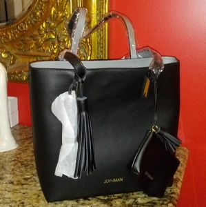 1004 Joy & Iman Leather Tote w/ Matching Wallet